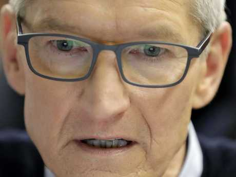 "Apple boss Tim Cook last week said Facebook was violating users' ""human right"" to privacy. Picture: AP Photo/Charles Rex Arbogast"