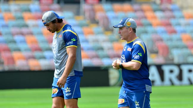 North Queensland Cowboys training at 1300Smiles Stadium. Johnathan Thurston and coach Paul Green. Picture: Evan Morgan