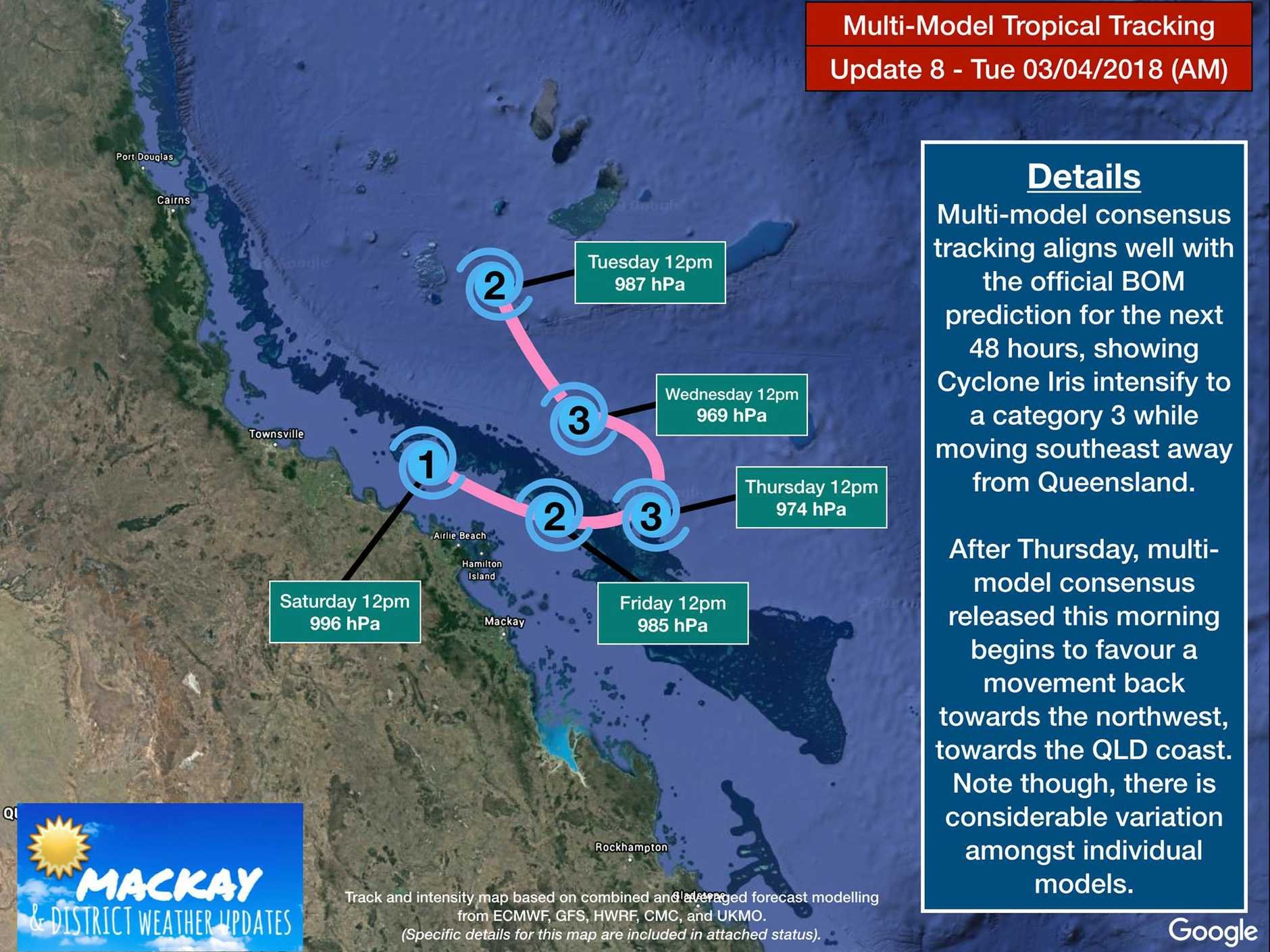 Mackay & District Weather Updates released a forecast track map based on a number of models. They said