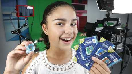 Youtube child sensation Grace Mulgrew 12 promoting the Commonwealth Games pin collection.