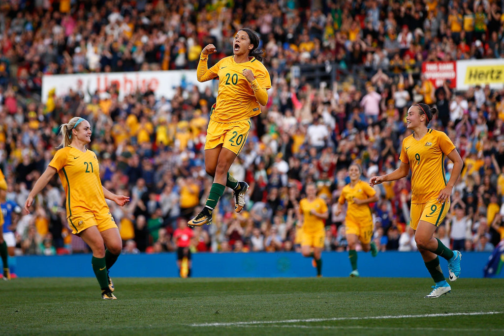Samantha Kerr of Australia celebrates after scoring Australia's second goal during the women's international match between the Australian Matildas and Brazil at Pepper Stadium on September 16, 2017 in Sydney.