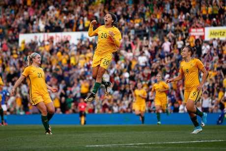 Samantha Kerr of Australia celebrates after scoring Australia's second goal during the women's international match between the Australian Matildas and Brazil at Pepper Stadium on September 16, 2017 in Sydney.