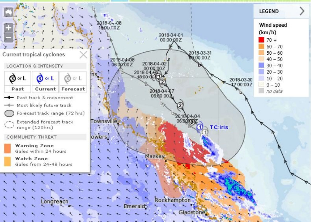 MetEye from Bureau of Meteorology showing Cyclone Iris at 5pm.