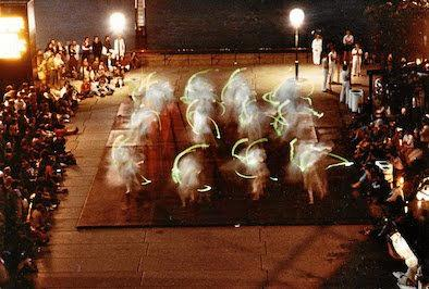 This shot of the performance of Mandala in 1980 took place on the northern broad walk of the Sydney Opera House when the flying instruments called the tupperware gamelan were used for the first time. The music was created to accompany a dance work by Californian choreographer Yen Lu Wong.
