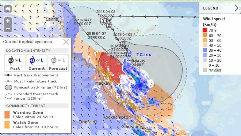 The Bureau of Meteorology's MetEye graphic shows the reach of Cyclone Iris  as at 9.30am Wednesday.