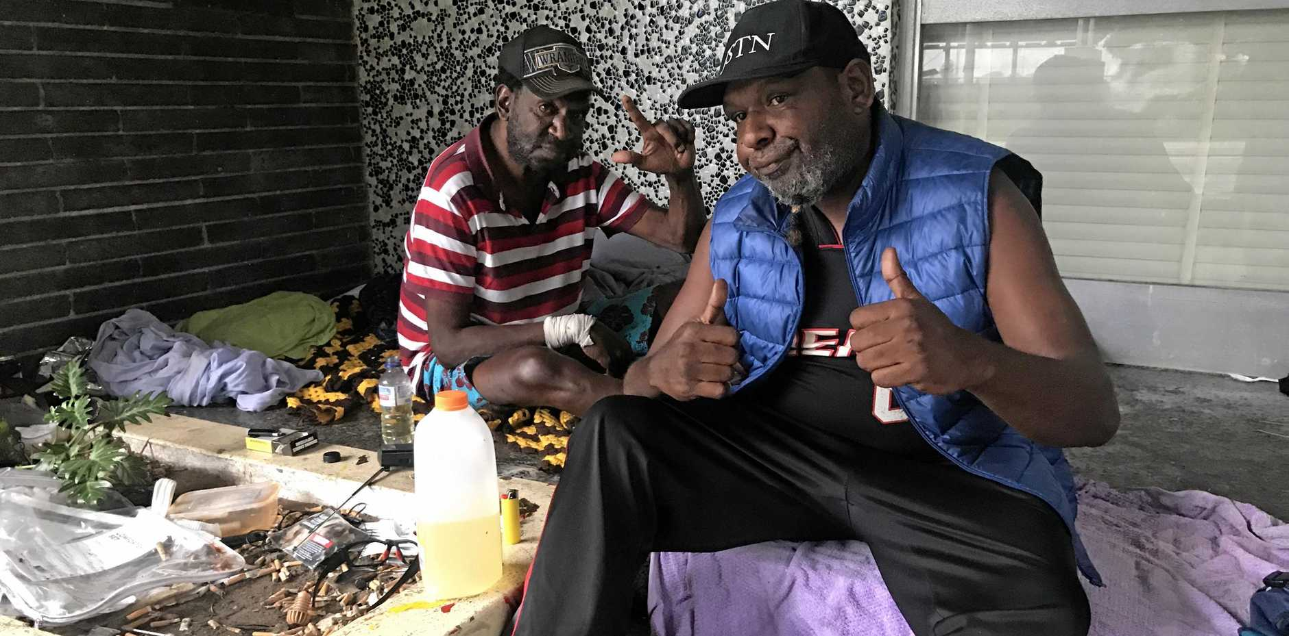 BROTHERS: Samuel and Robin said they coped well overnight, finding shelter from the effects of Cyclone Iris in the doorway of a CBD building.