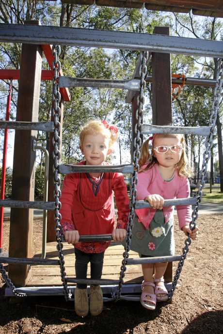 Kadelle Smith, 3, and Jacinta Jenkins, 2, at Pioneer Park, Landsborough.