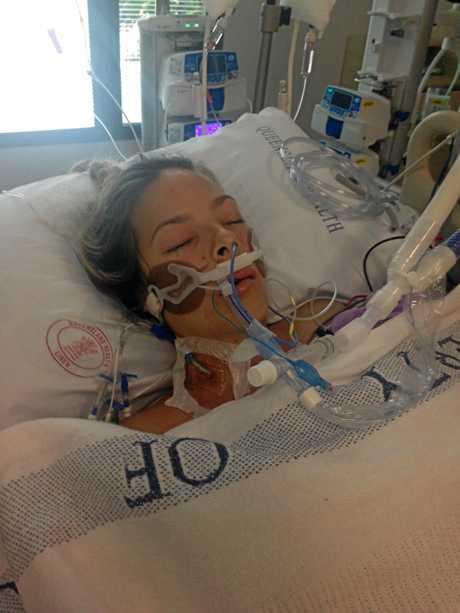 Shannon Hubbard in hospital.