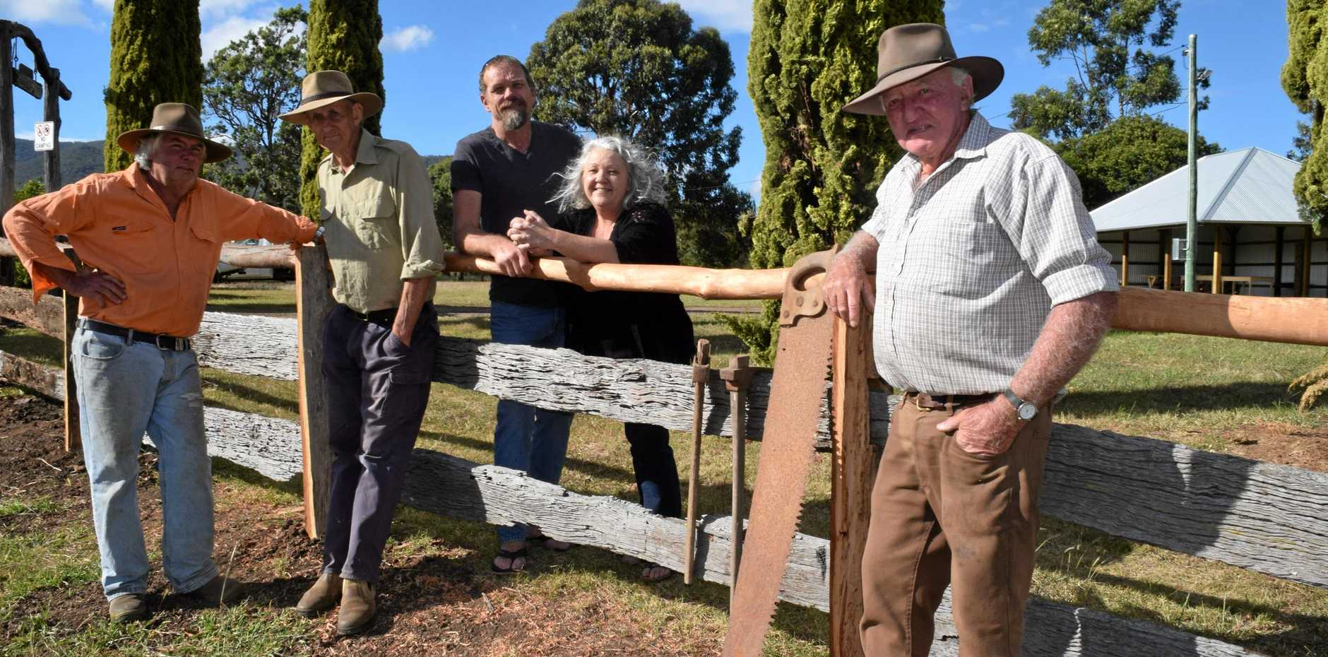 Swanfels locals, Tom Higgins, George Skinner, Brian Galloway, Jenn Greene-Galloway and Milton Rippingale ahead of the Swanfels Shed re-opening.