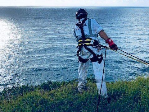 LENNOX RETRIEVAL: Richmond Police District officers at Pat Morton Lookout at Lennox Head on March 31st worked with SES to retrieve a women's body at the base of the cliff.