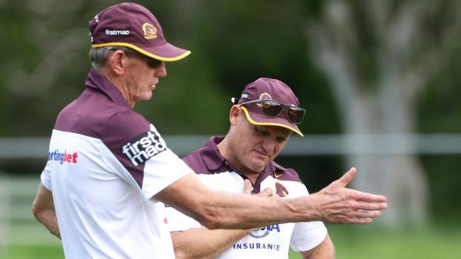 Wayne Bennett and Kevin Walters at Brisbane Broncos training.
