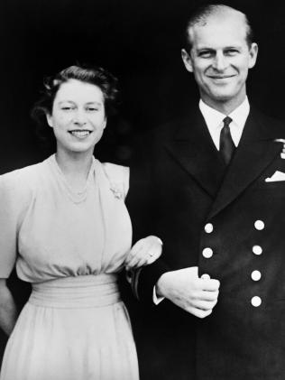 Princess Elizabeth and Philip of Greece's engagement photo in 1947. Picture: AFP