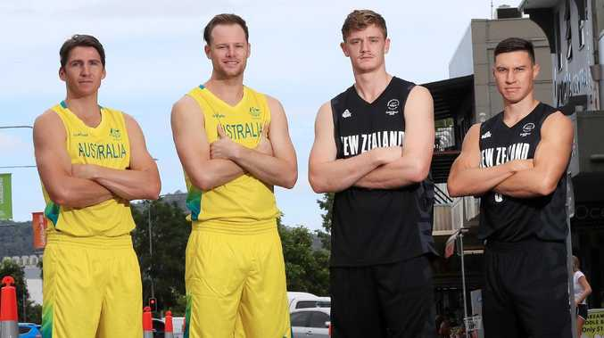 Australian Boomers players Damian Martin with Brad Newley will face a tough battle against Tall Blacks Finn Delany with Jarrod Kenny. Picture: Justin Brierty