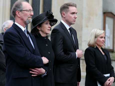 Jane Hawking (C), first wife of Stephen Hawking, his son Tim (2R) and daughter Lucy Hawking, at the physicist's funeral. Picture: AFP/Daniel Leal-Olivas