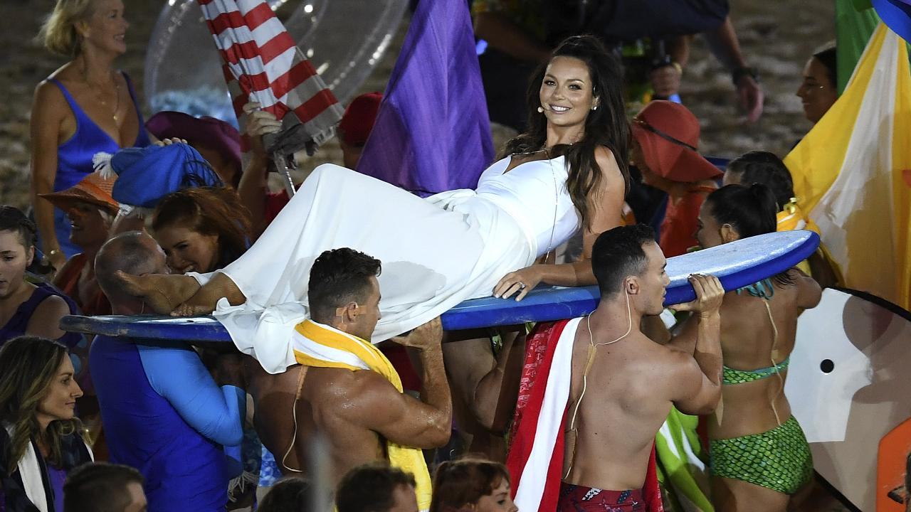 Ricki-Lee Coulter at the Commonwealth Games opening ceremony. Picture: AAP Images