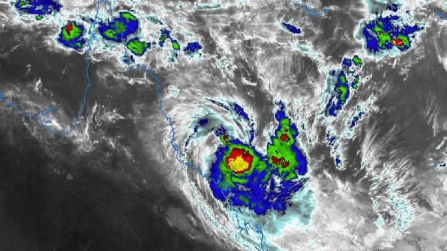 Tropical Cyclone Iris off the Queensland coastline on Tuesday.