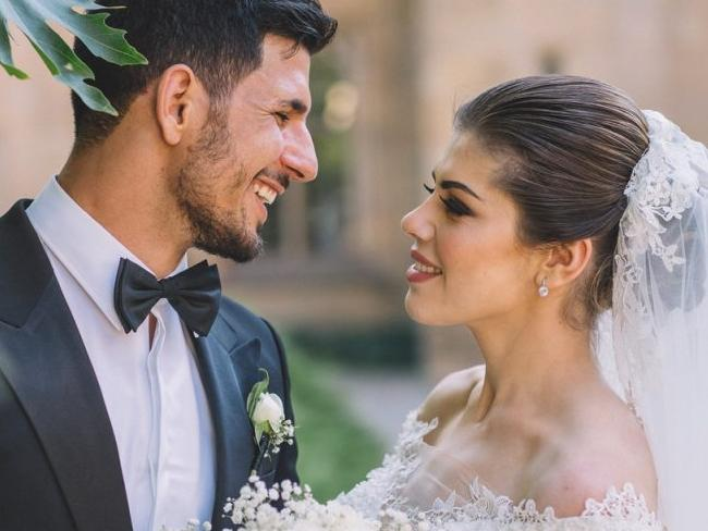 Hasan Topal with his wife Samantha Rabah at their lavish 2016 ceremony. There is no suggestions Ms Rabah has any gang involvement. Picture: Facebook