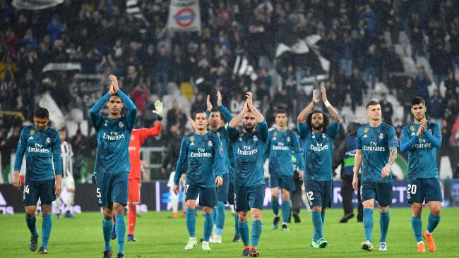 Real Madrid's celebrate at the end of the UEFA Champions League clash