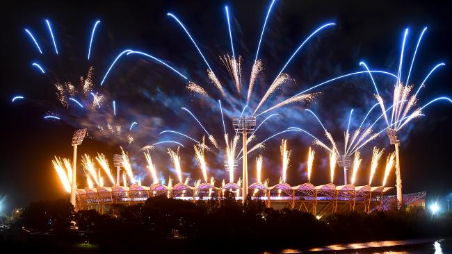 Fireworks are seen during the Commonwealth Games opening ceremony on the Gold Coast. Picture: Getty