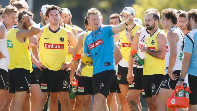 Nathan Buckley directs his playing at training on Wednesday. Picture: Getty
