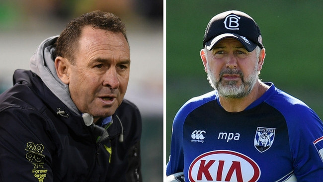 Mates and rival coaches Ricky Stuart (Raiders) and Dean Pay (Bulldogs).