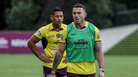 Darius Boyd (centre) in action during training.