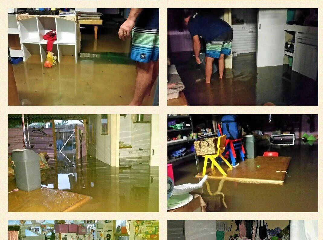 Belinda Walker's family daycare centre, before, during and after the Lismore Flood March 2017.