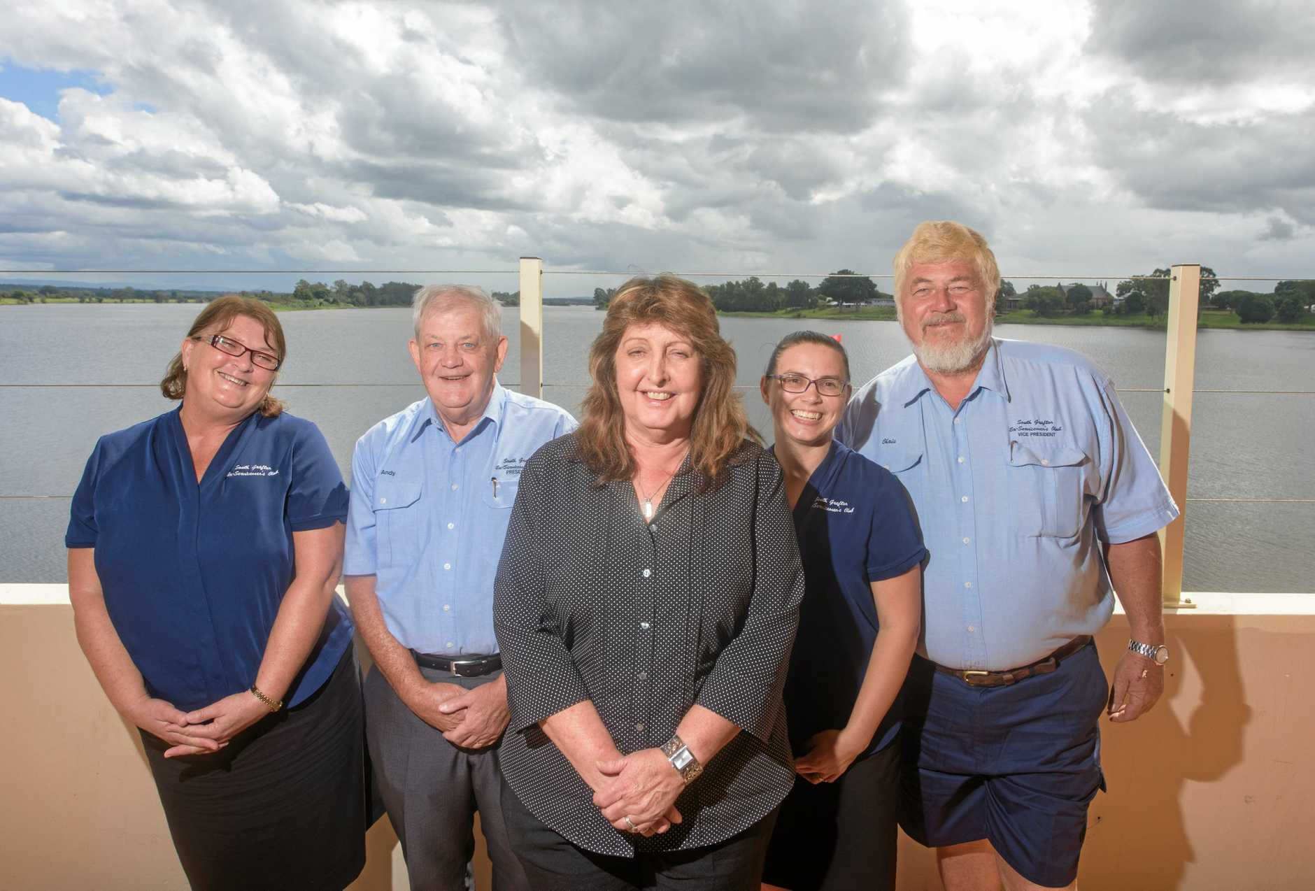 Suzette Collen, Andrew McGill, Debbie Welsh, Bridie Tilse and Chris Gosewisch of South Grafton Ex-Servicemen's Club. There has been a turnaround in club profits since Ms Welsh's appointment as secretary manager last year.