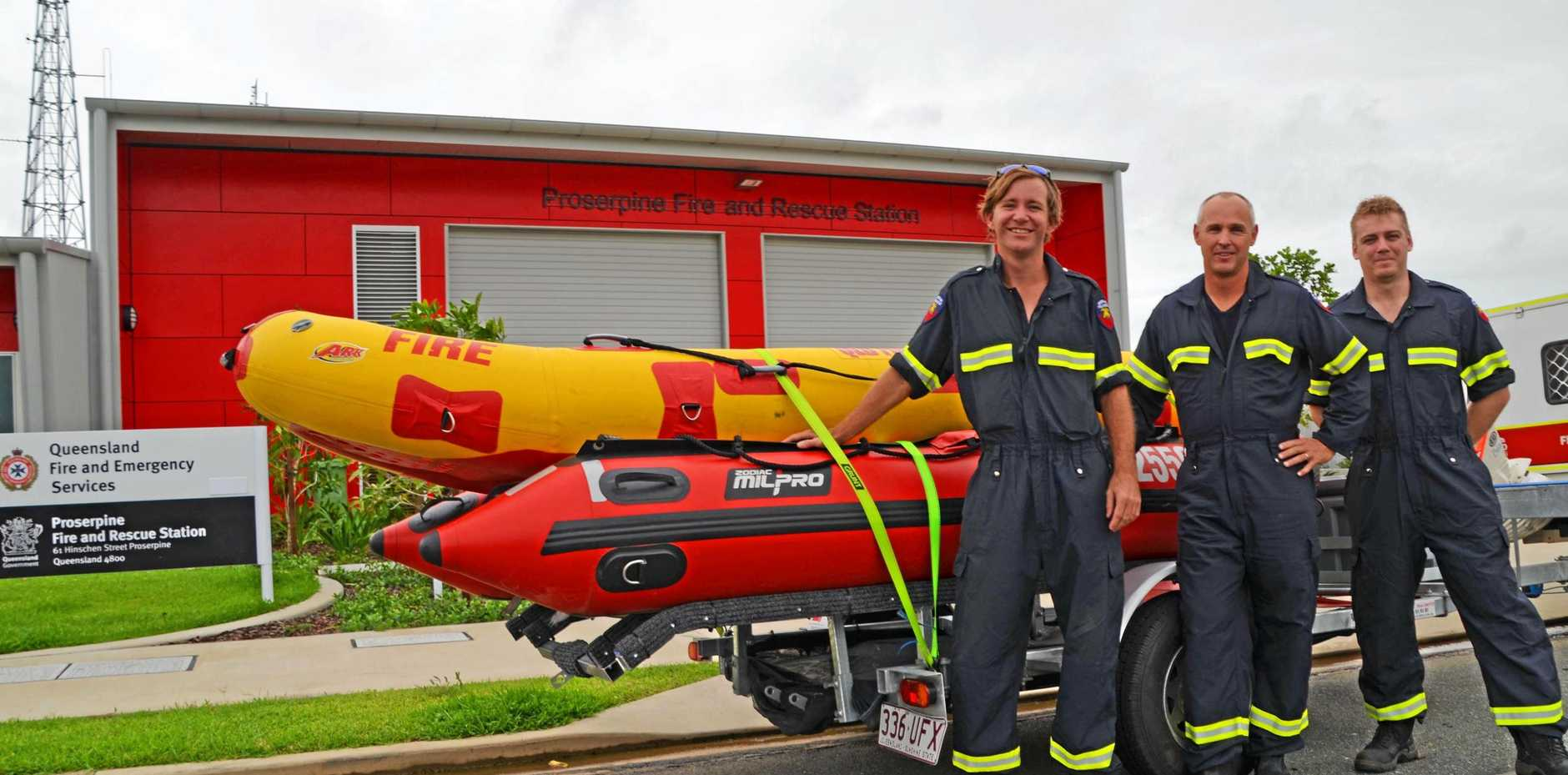 FLOOD READY: Firies Dan Bennett, Ian Kelly and Andrew Connellan in town on Wednesday.