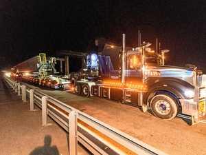 Girders start trip across Clarence River for Harwood Bridge