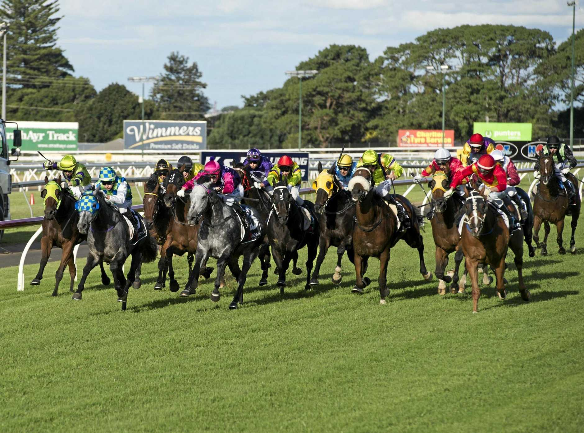 Choice Bro (outside) charges home for a narrow victory for trainer Tony Sears and jockey Jimmy Orman in the 2016 Weetwood Handicap at Clifford Park.