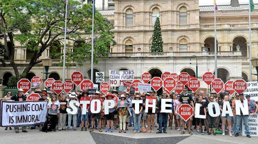 FILE PIC: Anti-Adani protesters outside Parliament House in Brisbane.