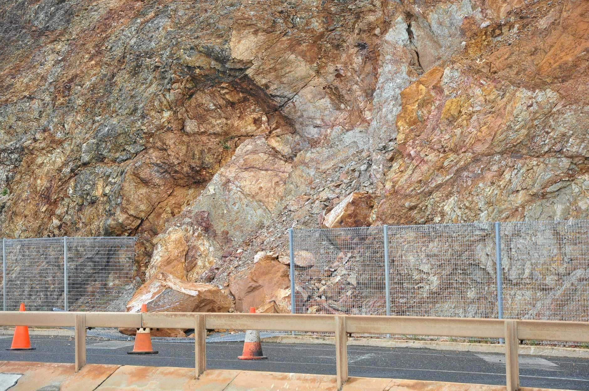 A massive boulder came tumbling down the cliff face off the Bluff on Farnborough Road