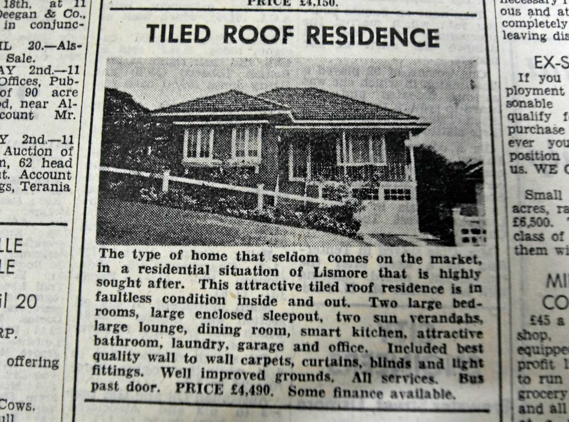 A house listed for sale 59 years ago in Lismore.