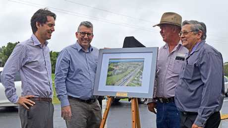 COMPLETE: Acting mayor George Seymour, Hinkler MP Keith Pitt, Division 8 Councillor Denis Chapman and Hervey Bay MP Ted Sorensen at the official completion of the Urraween Road upgrade.