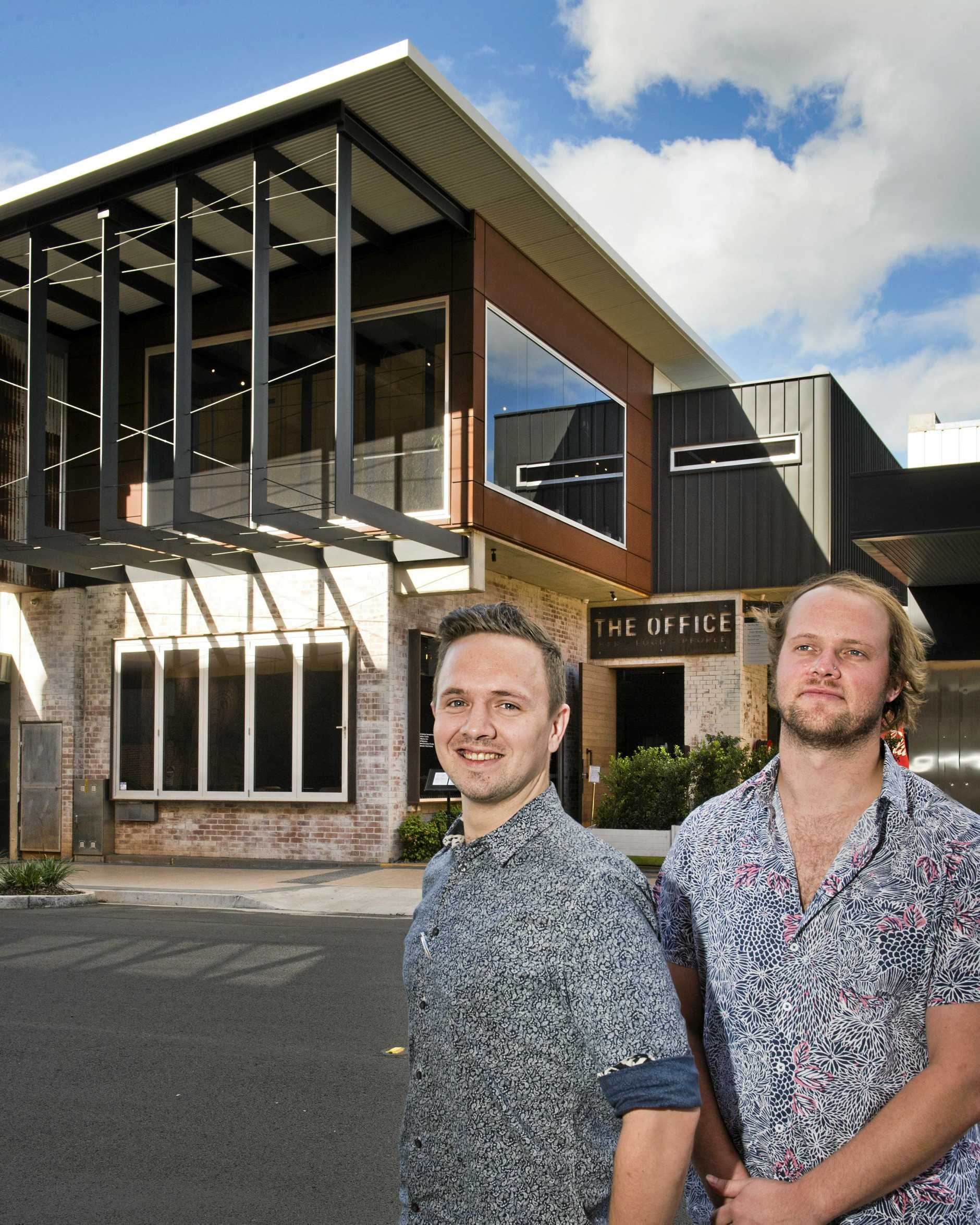 OFFICE HOURS: David Brosnan and Ollie Carpenter from The Office look forward to a new beginning at the Duggan St bar.