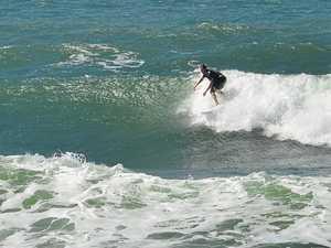 East winds make for junky surf