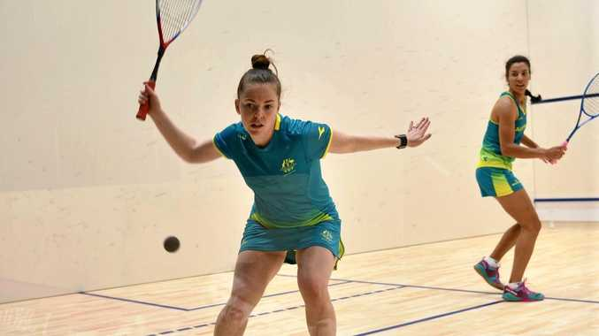 Coffs Harbour squash player Tamika Saxby practicing on the Gold Coast ahead of her first Commonwealth Games match which she won on Thursday night.