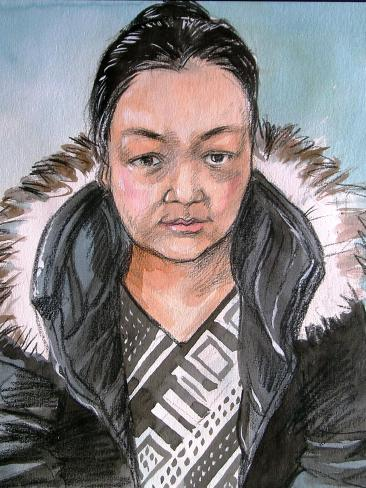 Artist impression of Jie Shao who has been charged with reckless grievous bodily harm and using poison so as to endanger life. Source: Vincent de Gouw