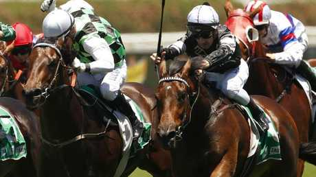 Jockey Ben Looker will continue his association with Victorem, right, in the Country Championships Final. Picture: AAP