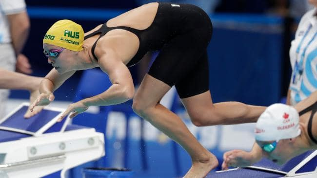 Emma McKeon dives into a jam-packed program on the opening night. Picture: AP