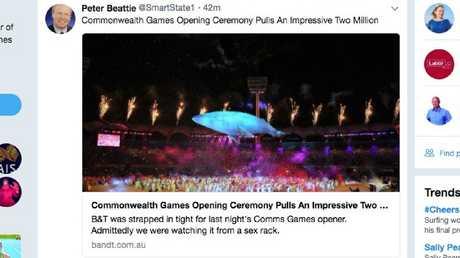 A tweet by Peter Beattie @smartstate1.
