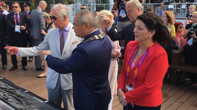 Prince Charles with Mayor Tom Tate and his wife Ruth Tate.