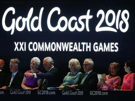 Prince Charles, Prince of Wales and Camilla, Duchess of Cornwall look on during the Opening Ceremony for the Gold Coast 2018 Commonwealth Games at Carrara Stadium, surrounded by other dignatries including Prime Minister Malcolm Turnbull. Picture: Getty