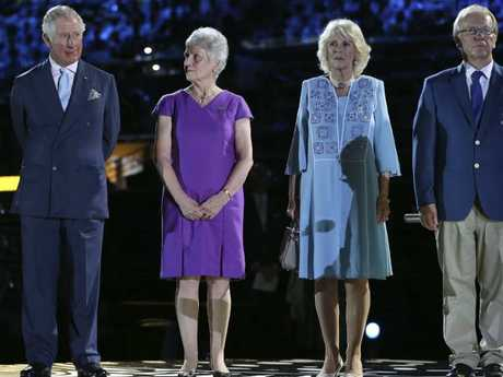 Prince Charles and Camilla, Duchess of Cornwall, with Aboriginal elder Patricia O'Connor and Peter Beattie.