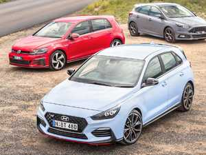 Hyundai i30N, VW GTI and Ford Focus ST in hot hatch shootout