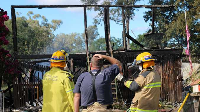 Fire crews at the scene of a house fire on Napier Rd, Laidley. The building was completely destroyed during the fire on April 6.