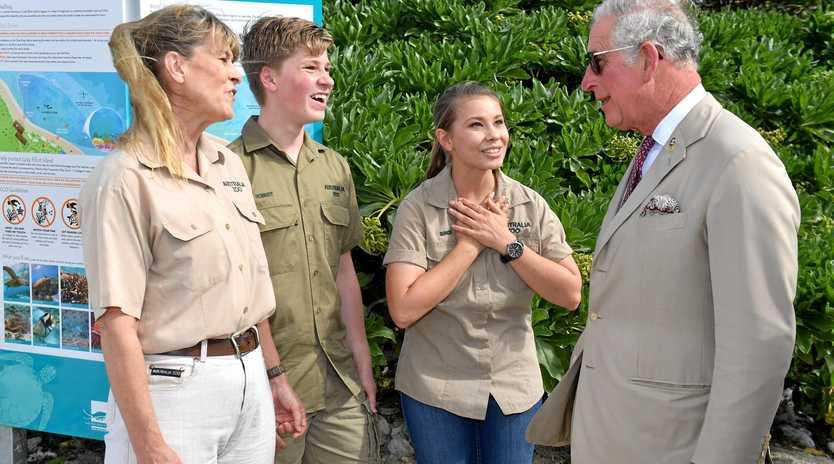 ROYAL WATCH: Terri, Bob and Bindi Irwin meet with Prince Charles on Lady Elliot Island yesterday.