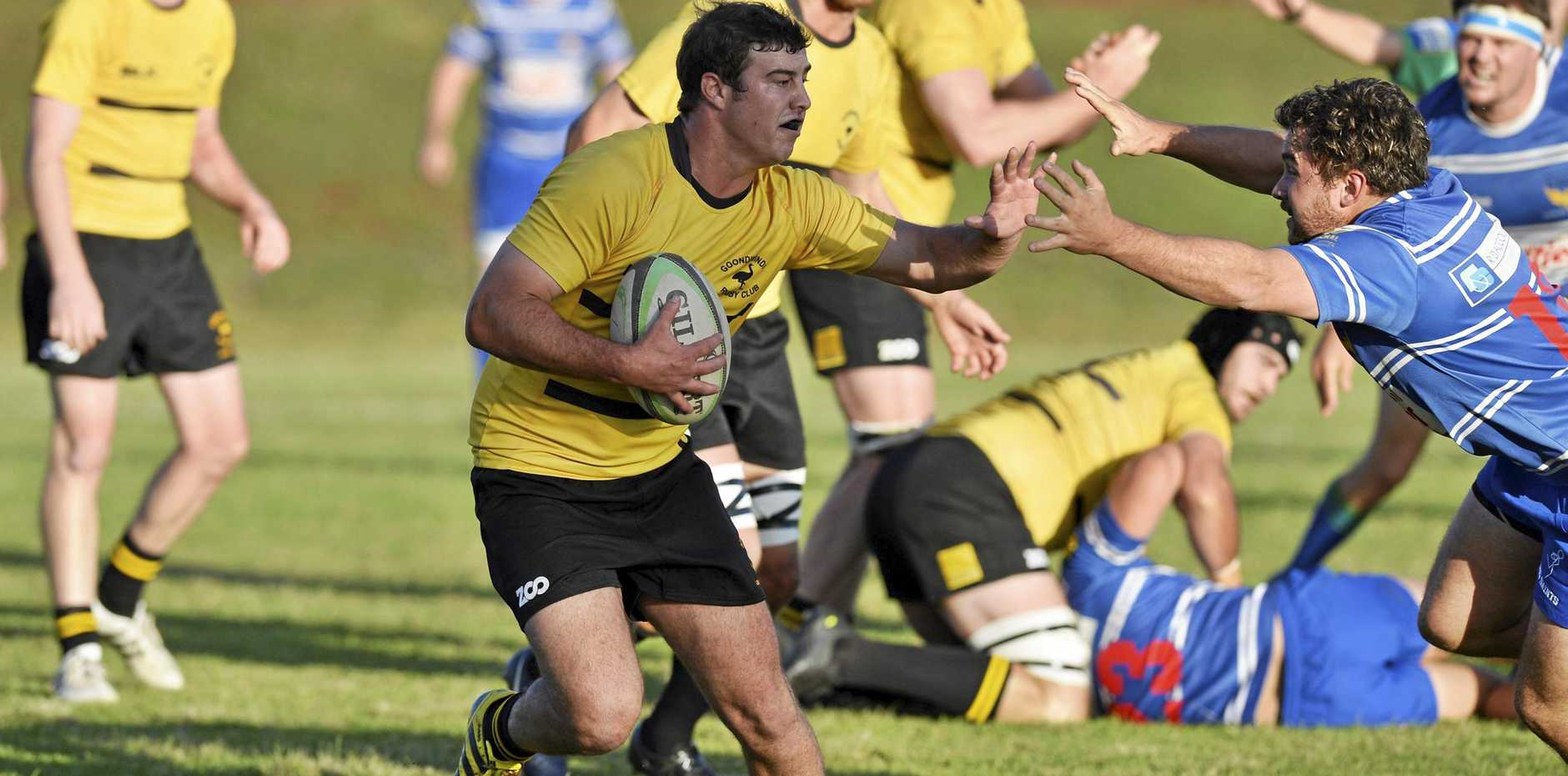 Sam Jobling of Goondiwindi looks to beat the attempted tackle of USQ's Liam Harms in their round-one Risdon Cup match at USQ Oval last month.