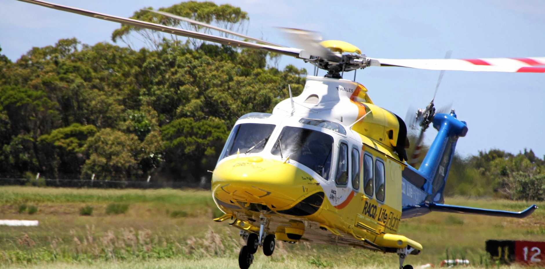 The RACQ LifeFlight AW139 Rescue Helicopter returns to Sunshine Coast Airport after an emergency medical flight from Gympie to Sunshine Coast University Hospital.